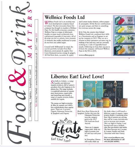 Wellnice Foods & Liberto feature in Food & Drinks Matters