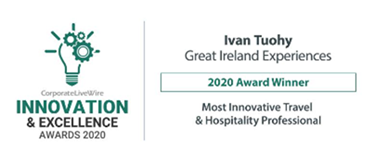"""Congratulations to Ivan Tuohy, Great Ireland Experiences a New Frontiers Alumni who were awarded """"Most Innovative Travel & Hospitality Professional"""" for 2020"""