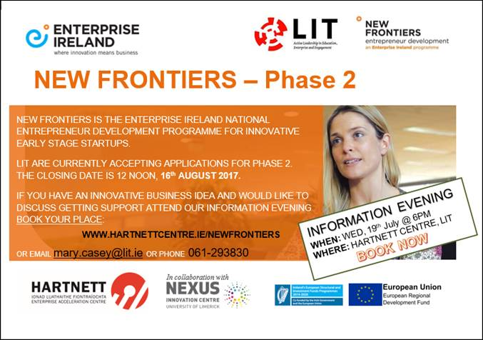 New Frontiers Information Evening - Wednesday 19th July 2017 @ 6pm